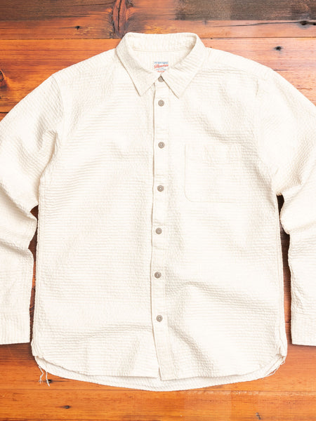 05-255 Sashiko Linen Button-Down Shirt in Natural