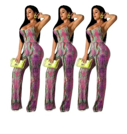 Girls With Curves: The Antidote Colorful Snake Print Jumpsuit