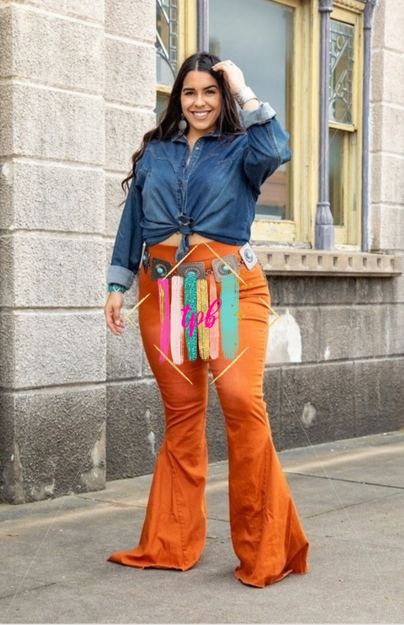 Get Some Rust Chile!  Flare Jeans - Curves