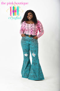 Ssssequins and Ssssnakes Flare Jeans - Curves