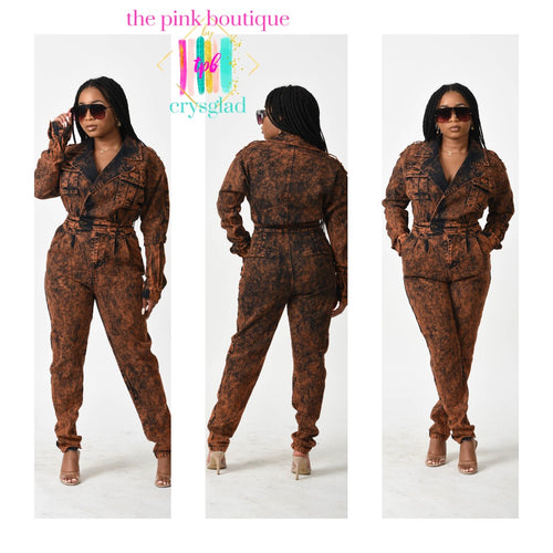 Cop-Her (Copper) Denim Jumpsuit