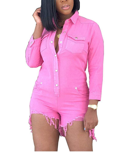 Girls With Curves: Think Pink Denim Shorts Jumper