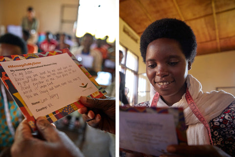Photo of sister in our program with a letter from her sponsor