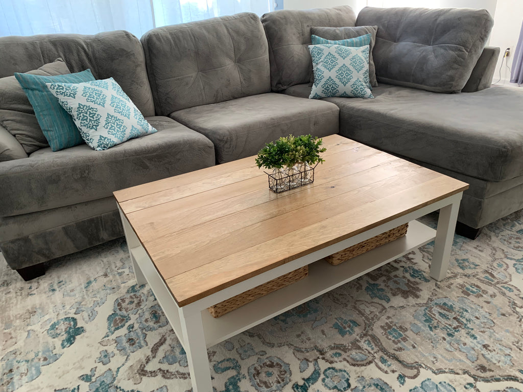 DIY Farmhouse Coffee Table - Ikea Lack Coffee Table Hack ...