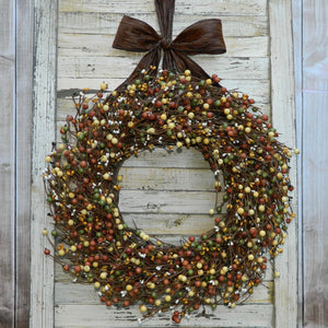 Brown, Cream, & Green Berry Wreath with Bow