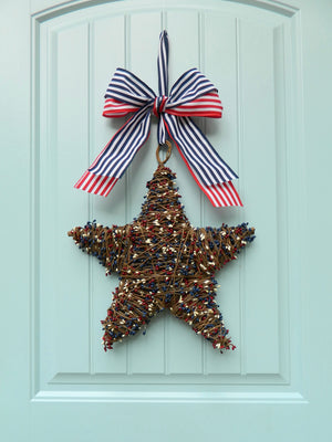 Red White and Blue Patriotic Star Wreath with Bow