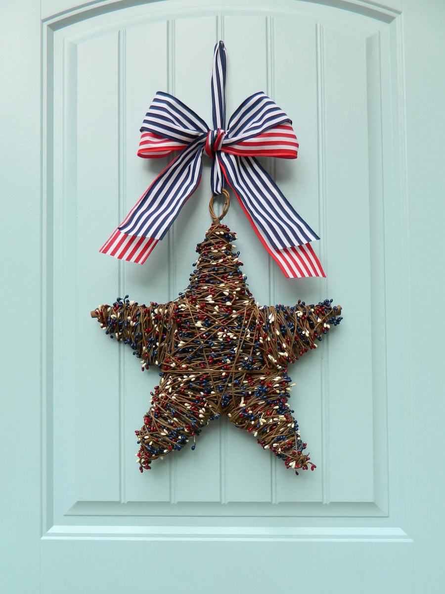 Red White and Blue Patriotic Star Wreath