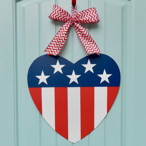 American Flag Heart Door Hanger