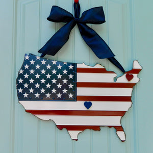 Patriotic USA Map Door Hanger