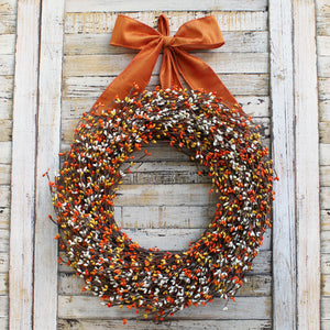 Orange, Yellow, & Cream Pip Berry Wreath