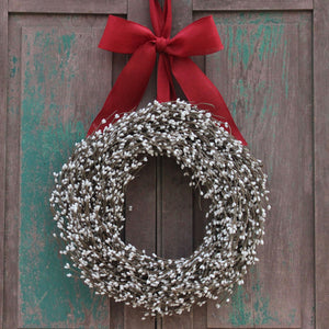 Cream Pip Berry Wreath with Bow