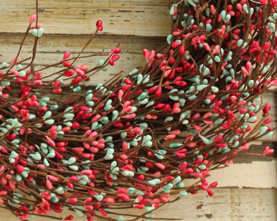 Light Teal & Coral Pip Berry Wreath