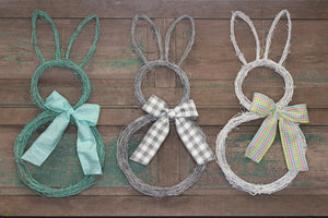 Colored Bunny Easter Wreath with Bow