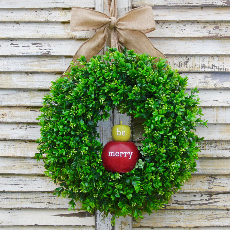 Be Merry Boxwood Wreath with Apples