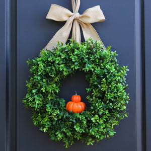 Pumpkin Boxwood Wreath