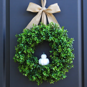 Pumpkin Boxwood Wreath with Bow