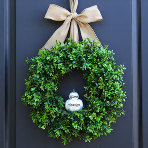 Give Thanks Pumpkin Boxwood Wreath