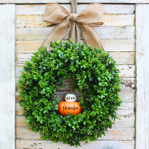 Give Thanks Pumpkin Boxwood Wreath with Bow