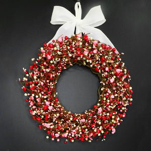 Red and Pink Berry Valentine's Heart Wreath with Bow