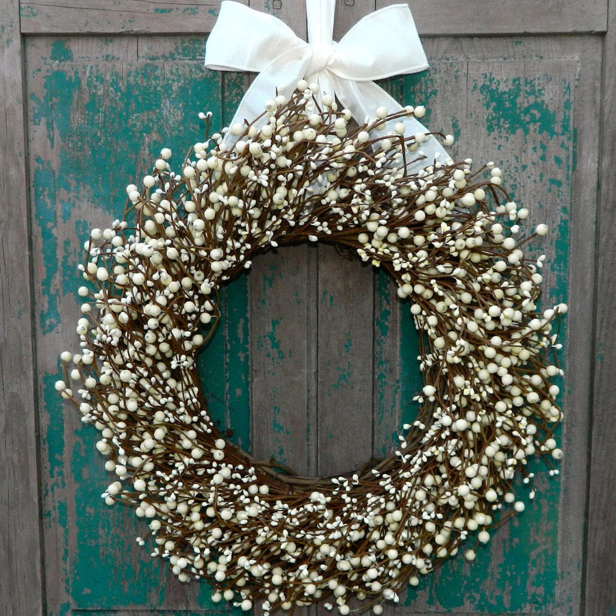 Cream Berry Wreath with Bow
