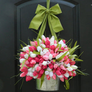 Bright Spring Tulip Pail Door Hanger with Bow