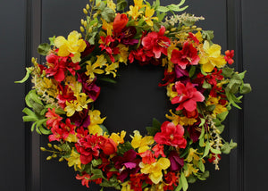 Red, Green, & Yellow Floral Summer Wreath