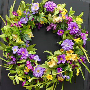 Purple & Yellow Floral Wreath