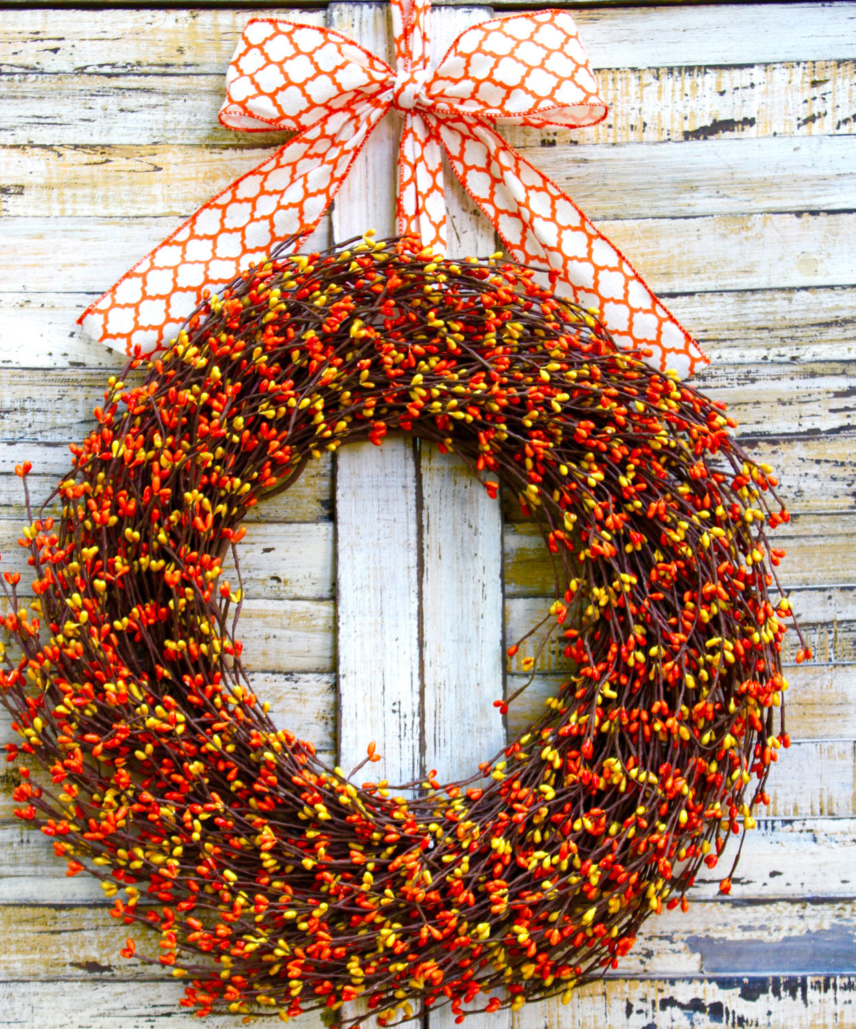 Orange Berry Wreath - Fall Door Wreath - Fall Berry Wreath