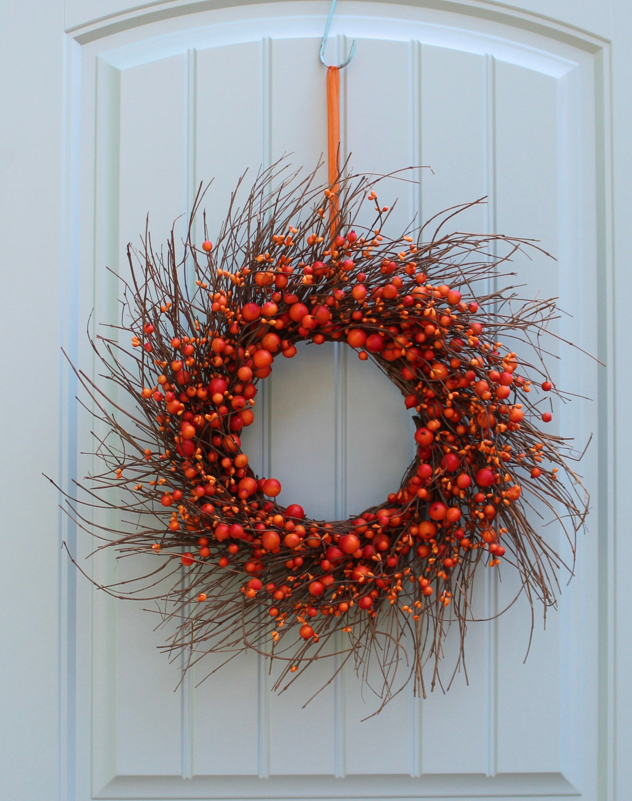 Fall Farmhouse Wreath - Rustic Orange Wreath