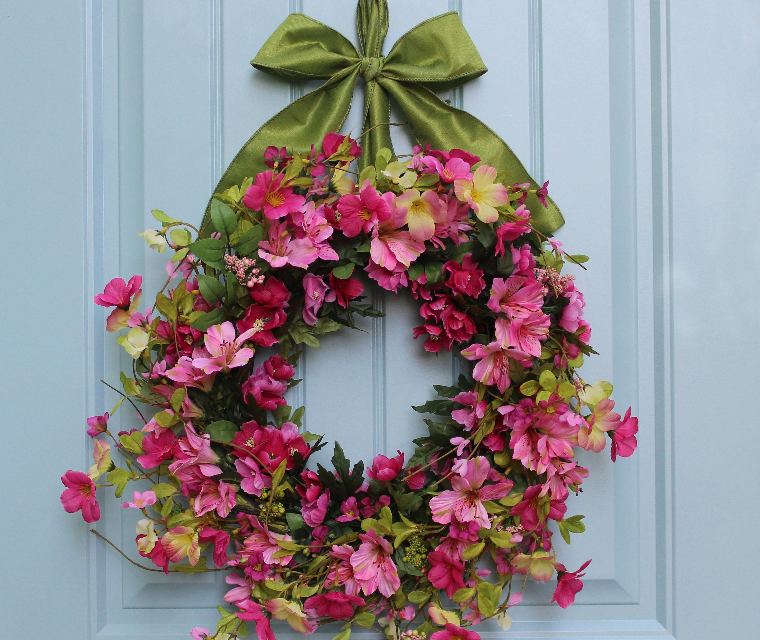 Spring Floral Wreath - Pink Spring Wreath - Spring Door Wreath - Choose Bow