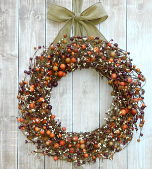 Burgundy, Rose Hip, & Cream Fall Combo Berry Wreath with Bow