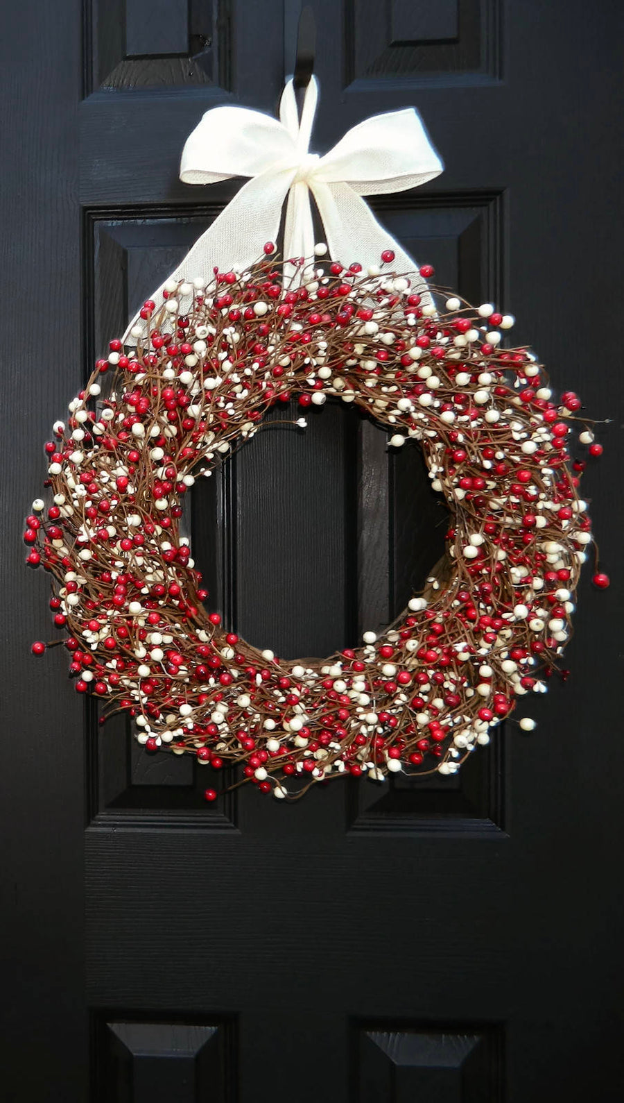 Red and Cream Berry Wreath with Bow