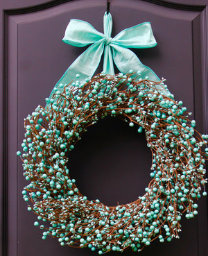 Light Teal Berry Wreath with Bow