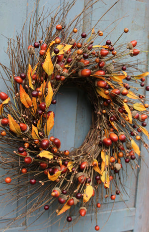 Primitive Fall Acorn Farmhouse Wreath