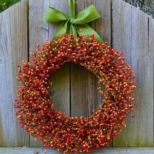 Orange Berry Wreath with Bow