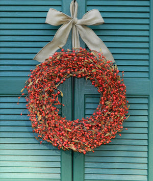 Fall Berry Wreath - Fall  Orange Berry Wreath - Berry Fall Wreath - Choose Bow