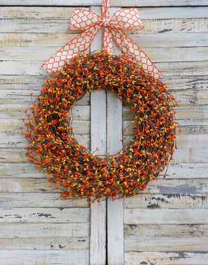 Orange & Yellow Pip Berry Wreath with Bow