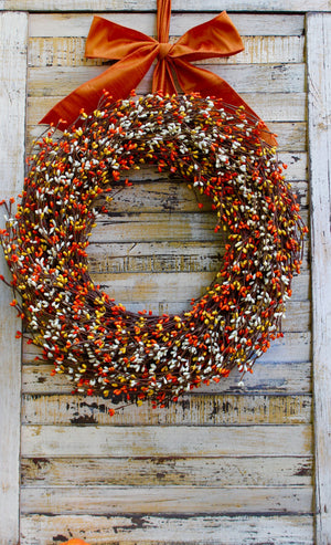 Orange, Yellow, & Cream Pip Berry Wreath with Bow