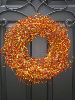 Sunset & Orange Berry Wreath with Leaves (no bow)