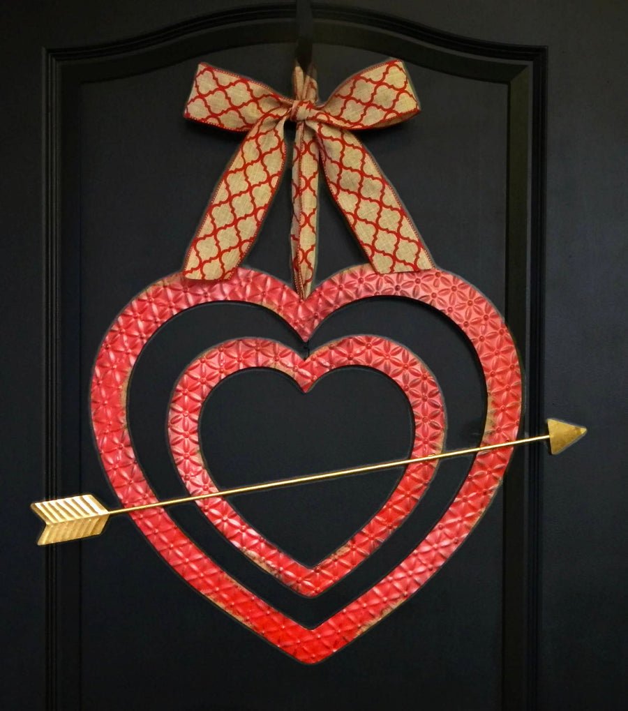 Rustic Farmhouse Cupid's Arrow Heart Door Hanger with Bow