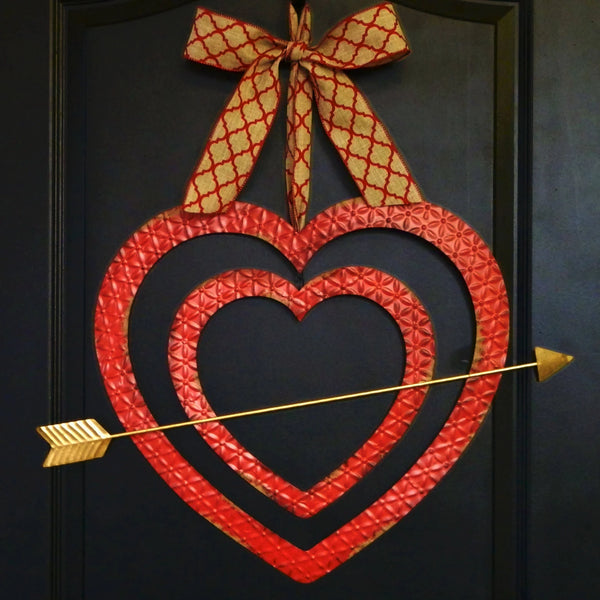 Valentine Wreath - Farmhouse Wreath - Cupids Arrow Wreath - Rustic Valentine Decor