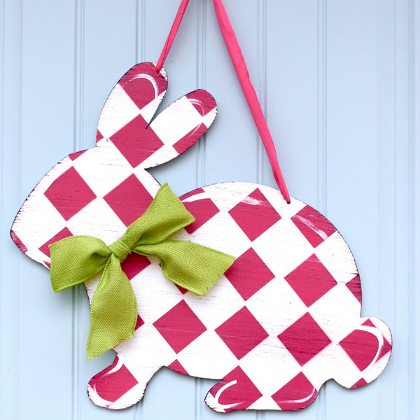 Bunny Wreath - Bunny Door Hanging - Easter Wreath - Choose Bow - Quick Ship