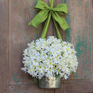 White Lily Pail Wreath Alternative
