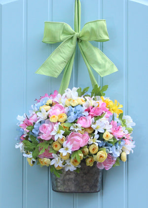 Pastel Flower Pail Wreath Alternative