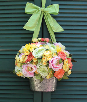 Sherbert Flower Pail Wreath Alternative
