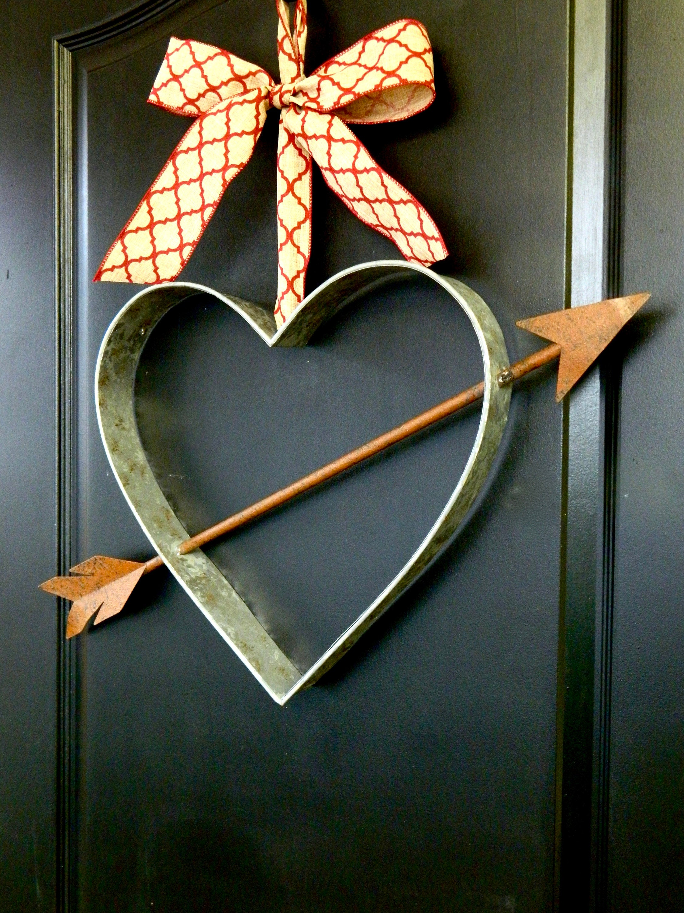 Farmhouse Wreath - Valentine Wreath - Galvanized Farmhouse Decor - Heart Wreath - Rustic Valentine