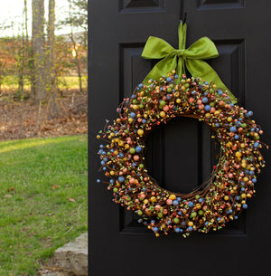 Spring Wreath - Berry Wreath - Spring Door Wreath - Pastel Wreath - Choose Bow