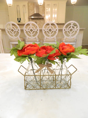 Red Ranunculus Vases with Chicken Wire Basket