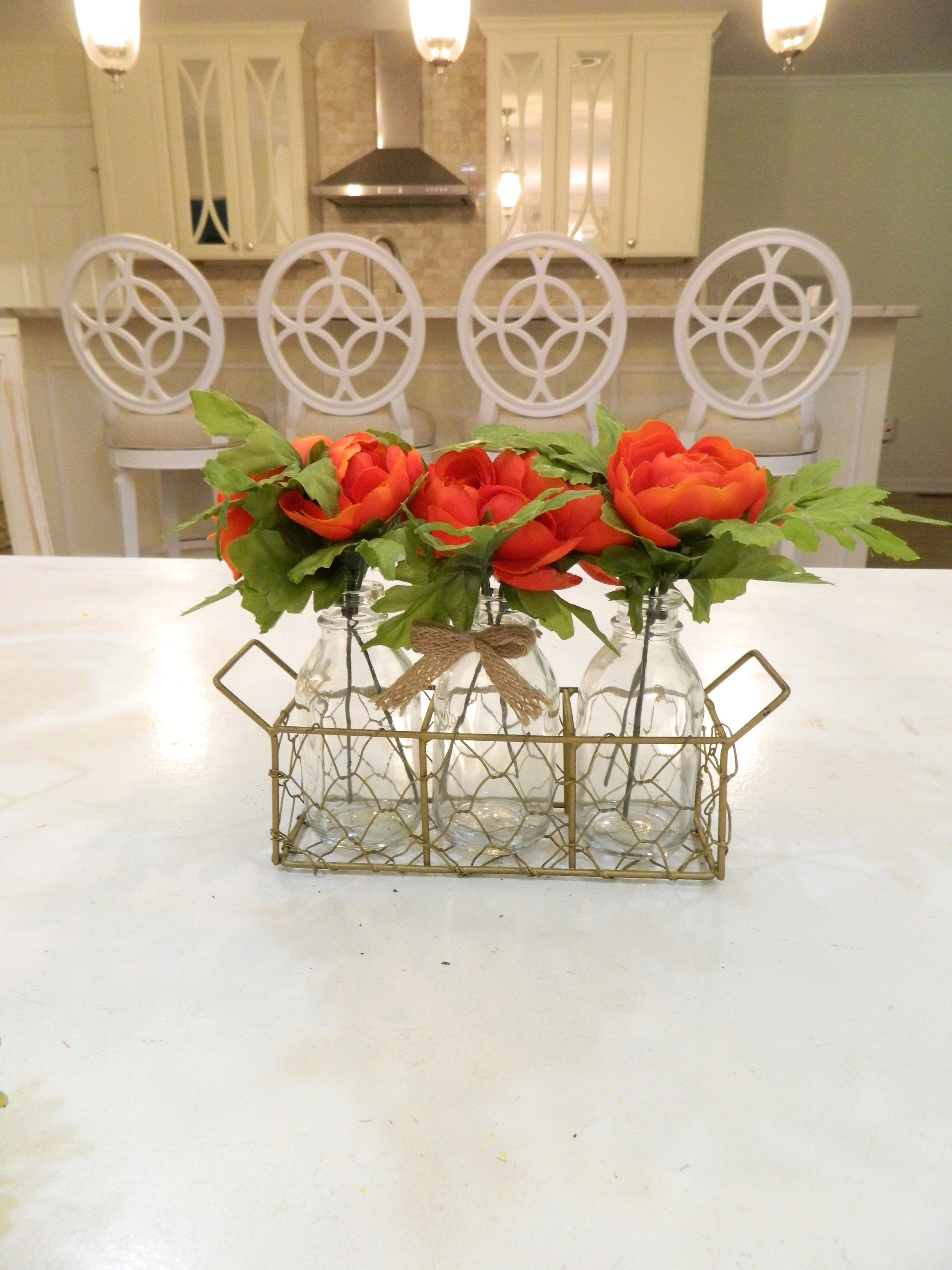Triple Vase Centerpiece - Floral Vase - Chicken Wire Container - Floral Arrangement