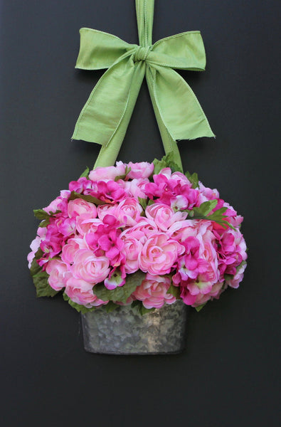 Wreath - Spring Wreath - Mother's Day Gift - Pink Wreath - Flower Basket